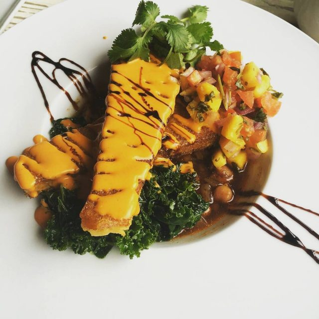 SaffronInfused PanSeared Savory Corn Cakes  spicy chickpea stew hellip