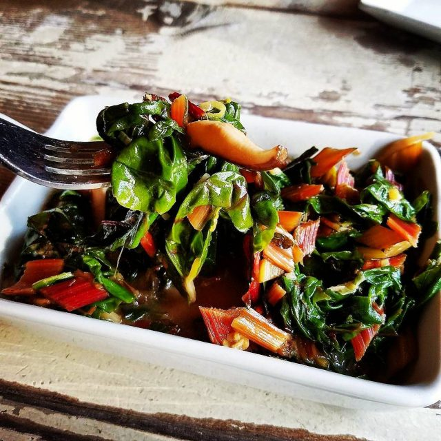 regram from therealmarpop  Braised rainbowchard with shitake broth hellip